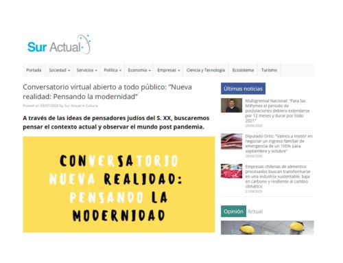 """Conversatorio virtual abierto a todo público: """"Nueva realidad: Pensando la modernidad"""" –Sur Actual"""