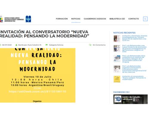 Invitación al conversatorio «Nueva realidad: Pensando la modernidad» – Noticias CEJ