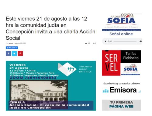 Este viernes 21 de agosto a las 12 hrs la comunidad judía en Concepción invita a una charla Acción Social – Radio Sofía