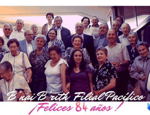 Saludamos a B'nai B'rith Filial Pacífico, a 84 años de su fundación
