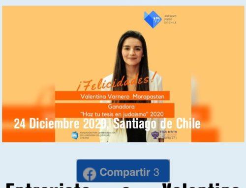 """Entrevista en La Palabra Israelita a Valentina Varnero, ganadora de """"Haz tú tesis en judaísmo en Chile"""""""